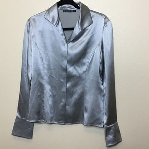Lafayette 148 Silk Long Sleeve Silver Top Size 8
